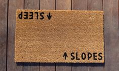 Slopes/Sleep Door Mat doormat  ski lodge decor by Dichotomat