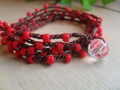 BoHo Chic Organic Crochet Red Matte Glass Bead 5x Wrap or 2x Necklace Perfect Gift Waterproof Bohemian Teen Summer Casual Glam