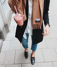 Fall minimalist style - Acne scarf and Gucci loafers