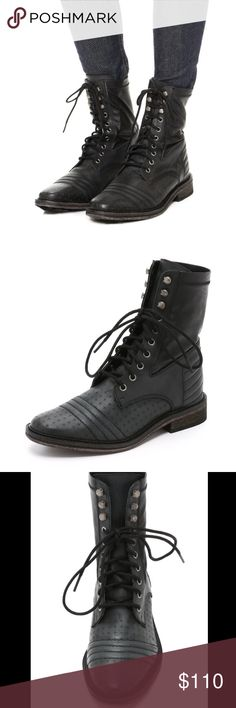 Free People boots Black, distressed motorcycle style boots from free people. Size 41 and fits a 10/11 comfortably. This style is now sold out and I can see why! Gorgeous detailing makes for a chic, edgy look. Free People Shoes