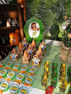 festa diego go 2nd Birthday Parties, 4th Birthday, Dora Diego, Go Diego Go, Dora The Explorer, Party Themes, Backdrops, Diy, Painting