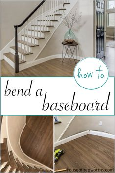 How to BEND A BASEBOARD around a tight curve - House of Hepworths - How to bend a baseboard to fit a curved wall. Tutorial at www. Baseboard Trim, Baseboards, Cheap Home Decor, Diy Home Decor, Narrow Hallway Decorating, Shabby Chic Bedrooms, Small Bedrooms, Curved Walls, Wall Trim