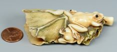 Lot 22: Japanese Ivory Netsuke, Frogs on lily pad