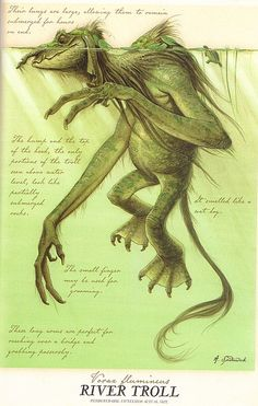 """""""River Troll"""" from """"Arthur Spiderwick's Field Guide to the Fantastical World Around You"""" illustration by Tony DiTerlizzi.-----love the Spiderwick Chronicles. Mythical Creatures Art, Mythological Creatures, Magical Creatures, Fairytale Creatures, Fantasy World, Fantasy Art, Dark Fantasy, Spiderwick, Creature Concept"""