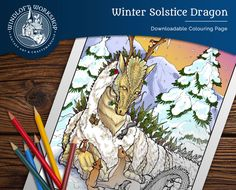 New printable coloring page: the Winter Solstice Dragon and furry friends! Check it out on Etsy