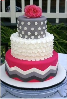 Chevron birthday cake - I like this, but would prefer pastels for Adalie's 1st