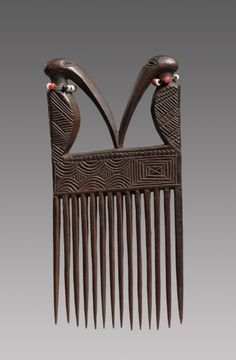 """vintagecongo: """" Culture/People: Chokwe from D.Congo, Angola and Zambia Name: Cisakulo (Comb) """" Afro Comb, Afrique Art, Tribal Hair, Art Premier, Vintage Hair Combs, Cleveland Museum Of Art, African Masks, 3d Prints, African Culture"""