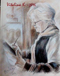 Vitalina K. Samosvat - Art: Οι φίλοι μου - με ξηρό παστέλ & μολυβοκάρβουνο σε ... Blog, Painting, Art, Art Background, Painting Art, Kunst, Paintings, Gcse Art