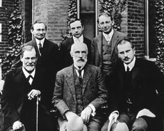 This is Before Clark Univ. 1909, Sigmund Freud, Granville Stanley Hall, Carl Gustav Jung, Abraham A Brill, Ernest James, and Sandor Feranzi // Historical photos from private collections