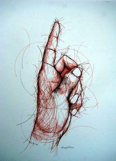 """Saatchi Online Artist: Joseph Vassie; Pen and Ink 2012 Drawing """"Circular Hand Study"""""""