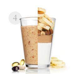 Υλικά:1 μπανάνα100 g ξηροί καρποί της επιλογής σαςΛίγη κανέλα200 g γάλα αμυγδάλου+1 δόση Natural Balance Shake Σοκολάτα+1 φακελάκι WellnessPack Oriflame Cosmetics, Nutrition Drinks, Dinner, Tableware, Recipes, Instagram, Food, Smoothie, Portugal
