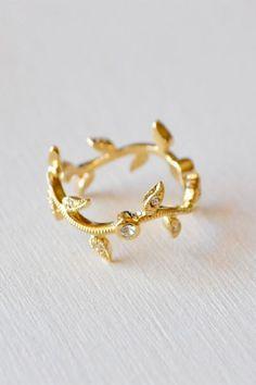 Gold Leaf Garland Ring