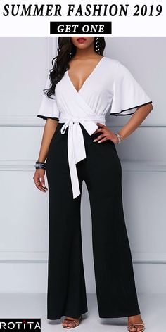 Best 11 When you have a night event and you don't know what to wear this Color Block jumpsuit is going to save your life. Cocktail Wear, Stylish Work Outfits, Sleeves Designs For Dresses, African Print Fashion, Trendy Clothes For Women, Fashion Dresses, Jumpsuit, Palazzo, Life
