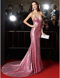 TS Couture® Formal Evening Dress Trumpet / Mermaid Spaghetti Straps Court Train Sequined with Sequins – USD $ 99.99