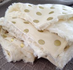 Lots of Gold PolkaDots on Cream Flannel and by dwelldarling,