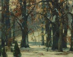 """Early Snow,"" John Fabian Carlson, oil on canvas, 16 x 20"", private collection."