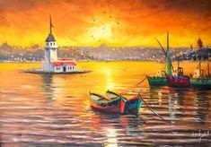 TabloTurk.com - Ömer Faruk Özelçi Yağlıboya Tabloları Sailboat Art, Color Poem, Istanbul City, Watercolor Illustration, Abstract Landscape, Animals And Pets, Lighthouse, Mystic, Art Drawings