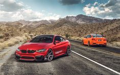 Download wallpapers BMW M4, 2017, red sports coupe, tuning M4, German sports cars, BMW