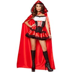 Sexy Women's Red Riding Hood Halloween Costume ($81) ❤ liked on Polyvore featuring costumes, sexy womens costume, red costumes, sexy ladies costumes, little red riding hood halloween costume and sexy red riding hood costume
