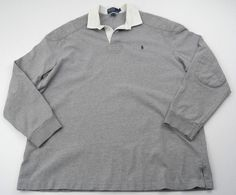 Polo Ralph Lauren Rugby Shirt Gray Large Long Sleeve Padded Elbow #PoloRalphLauren #PoloRugby