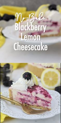 This No-Bake Blackberry Lemon Cheesecake is bursting with all your favorite summer flavor, and doesn't even require an oven. Lemon Cheesecake Recipes, Blackberry Cheesecake, Keto Cheesecake, Creative Desserts, Fun Desserts, Delicious Desserts, Yummy Food, Strudel, Cupcake Cakes