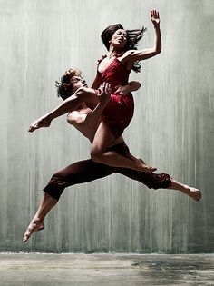 "Barry Goyette: the leap. ""Jennita and Greg, veterans of Chicago's Hubbard Street, stopped by my studio one day for some shots. They pulled off this leap after 4 or 5 tries. I've photographed dancers for many years, and I'd never seen anything quite like it."""