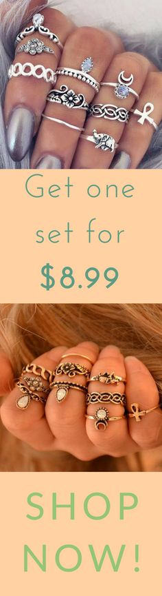 Vintage Boho 10-piece Ring Set on Rebelstyleshop.com Vintage Style Rings, Bohemian Rings, Other Accessories, Punk Rock, Boho Chic, Shop Now, Vintage Fashion, Earrings, Jewelry