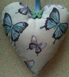 Butterfly Fabric Heart Shaped Lavender Bag - Handmade