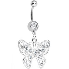 Crystalline Gem Fancy Filigree Butterfly Belly Ring | Body Candy Body Jewelry #bodycandy #piercings #bellyring