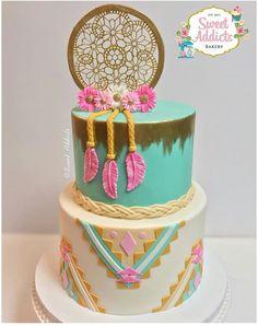 New Cupcakes Decorados Vintage Baby Shower Ideas 16 Cake, Cupcake Cakes, Bolo Hippie, Pocahontas Cake, Pocahontas Birthday Party, Dream Catcher Cake, Cute Birthday Cakes, 16th Birthday, Birthday Ideas