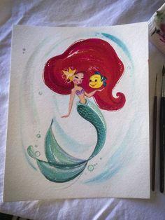 disney painting artwork the little mermaid ariel mermaid Flounder gouache liana hee Little Mermaid Painting, Little Mermaid Art, Disney Little Mermaids, Mermaids And Mermen, Disney Girls, Ariel Mermaid, Gif Disney, Arte Disney, Disney Fan Art
