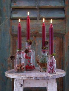 Reused Bottles Candle Stand For Christmas