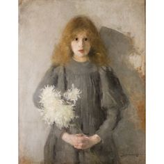 """Olga Boznanska - Girl with Chrysanthemums, 1894. Her most famous 1894 portrait of an unknown child """"Girl with Chrysanthemums"""" fascinated her contemporaries by its symbolist atmosphere and psychological insight."""