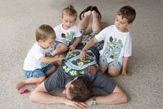 Unique DADmat playmate gift for Dad from kids. Drive on t-shirt race track play mat play shirt. Mathing father son shirt set.