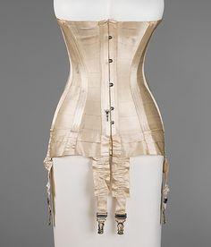 French corset, 1915  Medium: silk, bone, metal, elastic Dimensions: Length at CF (a): 23 1/2 in. (59.7 cm)