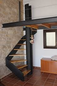 Spiral staircase with wooden steps and design mezzanine in lacquered steel - Spiral Staircase design lacquered Mezzanine spiral staircase steel Steps wooden Loft Stairs, House Stairs, Open Stairs, Spiral Staircase, Staircase Design, Staircase Ideas, Staircases, Wooden Steps, Interior Architecture