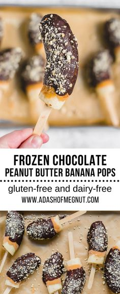 Chocolate peanut butter covered frozen banana pops are a great summer treat that are gluten-free and dairy-free and only FIVE ingredients! Frozen bananas get dipped in creamy peanut butter, and then rich chocolate and topped with roasted salted peanuts