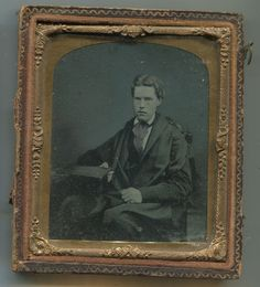 "C 1850's Ambrotype Man with Cap Gown Sixth Plate 3 25"" x 3 75"" in Frame 