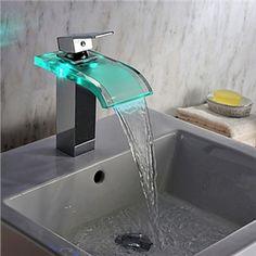 Zeige Details für Zeitgenössische Chrom LED Wasserfall Wasserkraft Glas Bad Waschtischarmatur