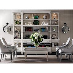 The open, intricate fretwork design of the Pavillion Media Bookcase reflects its Chinese Chippendale influences. With unmatched elegance, this wall system is a beautiful living room centerpiece. | Stanley Furniture