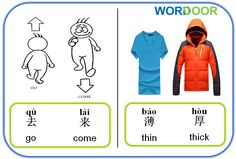 Wordoor Chinese - Antonyms # go vs come; thin vs thick