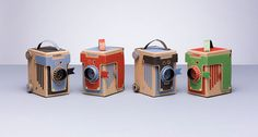 Viddy is an adorable pinhole camera made of reclaimed parts and cardboard