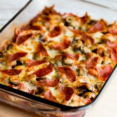 Low-Carb Deconstructed Pizza Casserole Recipe Main Dishes with diced tomatoes, Italian turkey sausage, olive oil, dried oregano, salt, ground pepper, fresh mushrooms, mozzarella cheese, pepperoni