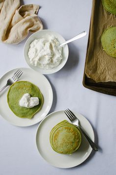 Green Tea Ricotta Pancakes with Honey Whipped Cream