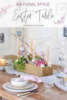 This natural style Easter Table is perfect for a casual gathering. With organic elements, a living centerpiece and neutral colors, this tablescape is simple yet elegant. Easter Table Decorations, Centerpiece Decorations, Centrepieces, Easter Decor, Easter Crafts, Easter Ideas, Easter Celebration, Spring Home Decor, Neutral Colors