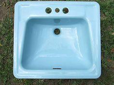 Vintage-1960-Cast-Iron-BLUE-Porcelain-Drop-In-Sink-Old-Bathroom-SQUARE