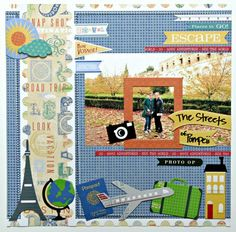 Escape for Moment with our Biker Chicks Robbie, Corrie and Shanna Travel Scrapbook Pages, Vacation Scrapbook, Scrapbook Layout Sketches, Scrapbooking Layouts, Little Yellow Bicycle, Travel Album, Kodak Moment, Adventure Photos, Travel Memories