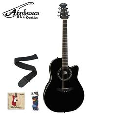 Ovation Applause AE128-5 Acoustic-Electric Guitar with DVD, Guitar Strap and Pick Sampler -  Black by Ovation. Save 26 Off!. $260.08. The AE128's Super-Shallow composite body feels similar to an electric, yet it retains all the benefits and acoustic properties of a round back design. A spruce top and matched lightweight bracing deliver a clear amplified tone with plenty of headroom before feedback on stage. The AE128 features a center soundhole that offers a traditional look, a slim...