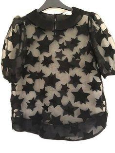 8877d3dc35e H & M black short sleeve sheer organza star top size S #fashion #