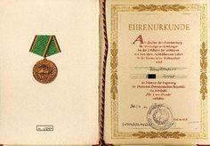 """DDR Museum - Museum: Objektdatenbank - Ehrenurkunde """"Verdienstmedaille NVA""""    Copyright: DDR Museum, Berlin. Eine kommerzielle Nutzung des Bildes ist nicht erlaubt, but feel free to repin it!"""
